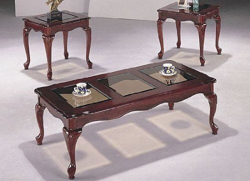 Poundex Queen Ann 3 Piece Coffee And End Table Cherry Kitchen F3088