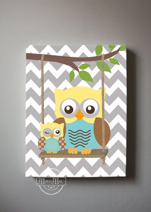 Baby Boy Room Decor , Owl Decor Boys wall art - OWL canvas art, Baby Nursery Owl with Swing 10x12  woodland whimsical nursery art on Etsy, $51.00