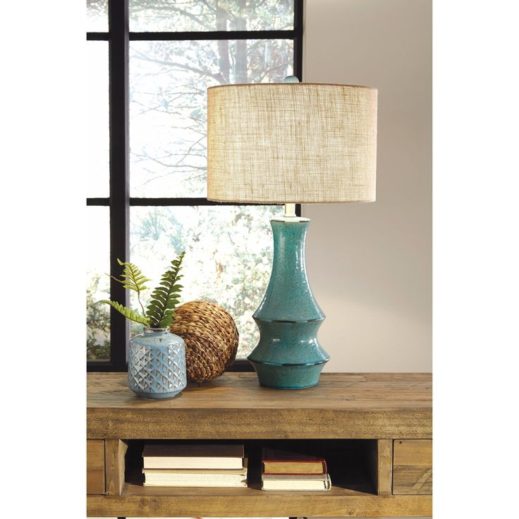 Signature Design by Ashley Jenci Antique Teal Table Lamp