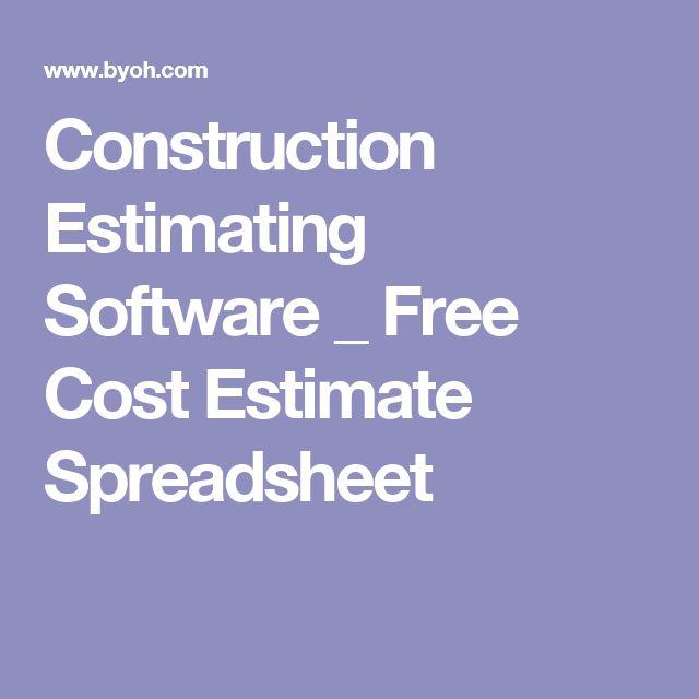 Construction Estimating Software _ Free Cost Estimate Spreadsheet