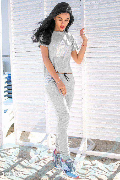 Gepur | Ультрамодный брючный костюм арт. 17016 Цена от производителя, достоверные описание, отзывы, фото , цвет: серый меланж, белый