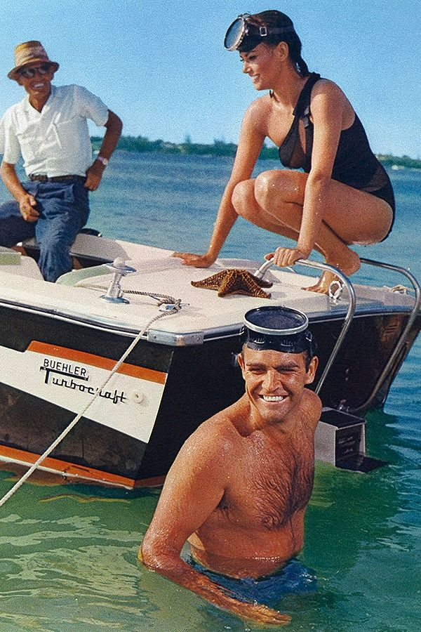 Sean Connery and Claudine Auger on the set of, 'Thunderball' (1965).