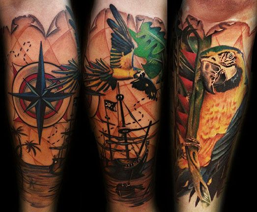 Pirate Ship and Parrot Tattoo Sleeve by Nic Westfall