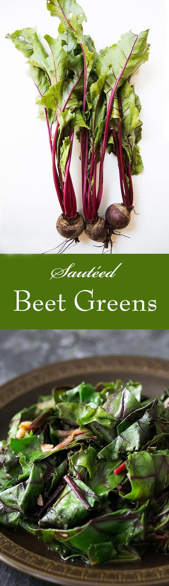 Beet Greens ~ Delicious way to serve beet greens and other greens such as collard or kale.  Beet greens sautéed with bacon, garlic, onion, in a sweet and sour sauce. So easy! On SimplyRecipes.com