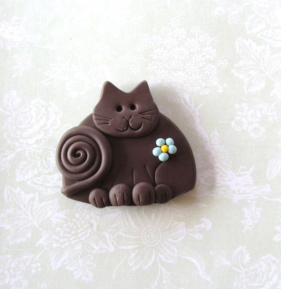 Polymer Clay Brown Cat with Blue flower pin or magnet