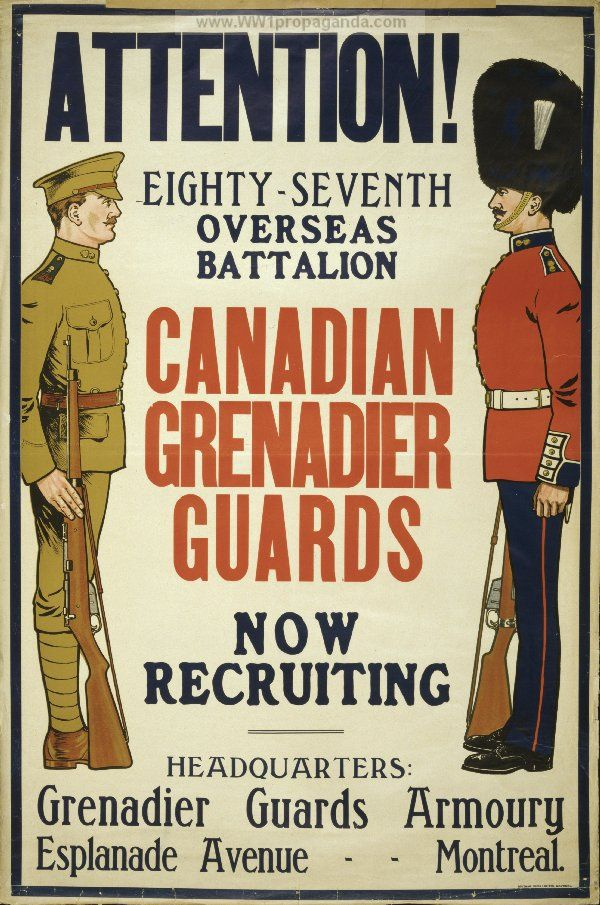 This image portrays WWI Canadian Propaganda urging men to become soldiers or guards. There is really no persuasive language, just a call to attention.