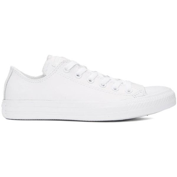 Converse White Leather CTAS Sneakers (85 CAD) ❤ liked on Polyvore featuring men's fashion, men's shoes, men's sneakers, white, converse mens sneakers, mens leather sneakers, mens leather lace up shoes, mens white shoes and converse mens shoes