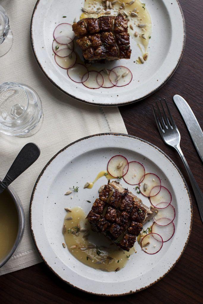 Crispy Pork Belly, Apple Puree & Honey Mustard Vinaigrette
