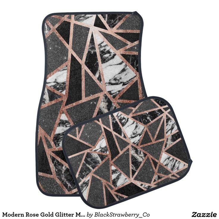 Modern Rose Gold Glitter Marble Geometric Triangle Car Mat