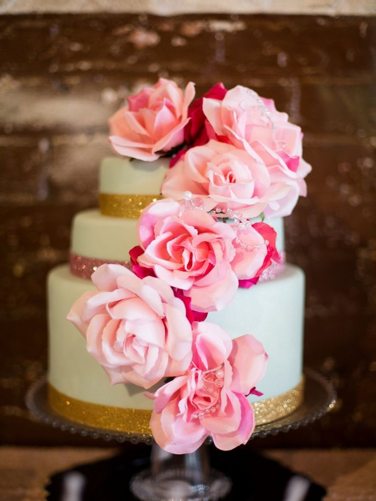 Pink and Gold wedding cake. Audrey Hepburn Wedding Inspiration {Styled Shoot} - KnotsVilla . Photo by Lindsey Laughlin Photography