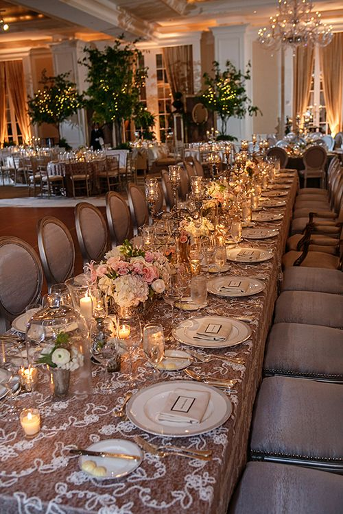 Champagne and cream table setting with hydrangeas and roses | Brides.com