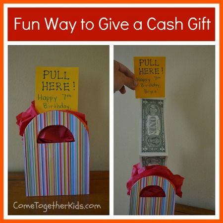 Fun Way to Give a Cash GiftGift Bags, Kids Birthday, Birthday Gift, Cash Gift, Gift Ideas, Money Cards, Gift Cards, Kids Gift, Kids Fun