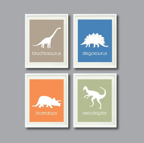 Dinosaur Art Print Set of Four 8x10-Nursery, Kids Room, Playroom, School, Educational-Tan, Orange, Blue, Green-Modern Wall Art-Decor-Dino