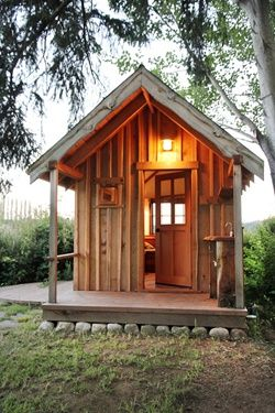 8' x 12' cabin on Whidbey Island, WA designed and built by Kim Hoelting of Live Edge Woodworks | photo by Ross Chapin