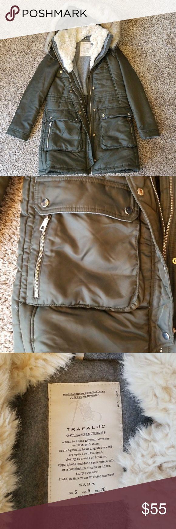 Zara Winter Jacket Khaki/Green. Like new. Size small fits a mediun as well. Faux fur hoodie, shearling trim around collar. Zara Jackets & Coats Puffers