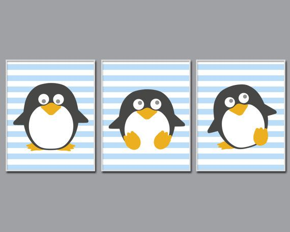 Penguin Nursery Art Print Baby Boy Nursery Art Blue by HopAndPop