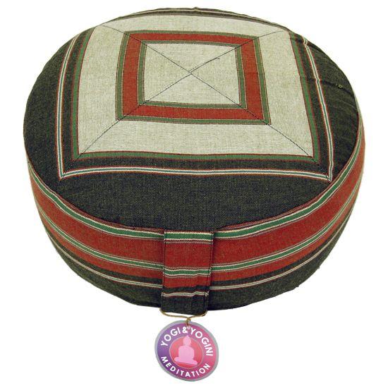 Meditatiekussen crème/rood/groen patroon multi - 33x17 cm -