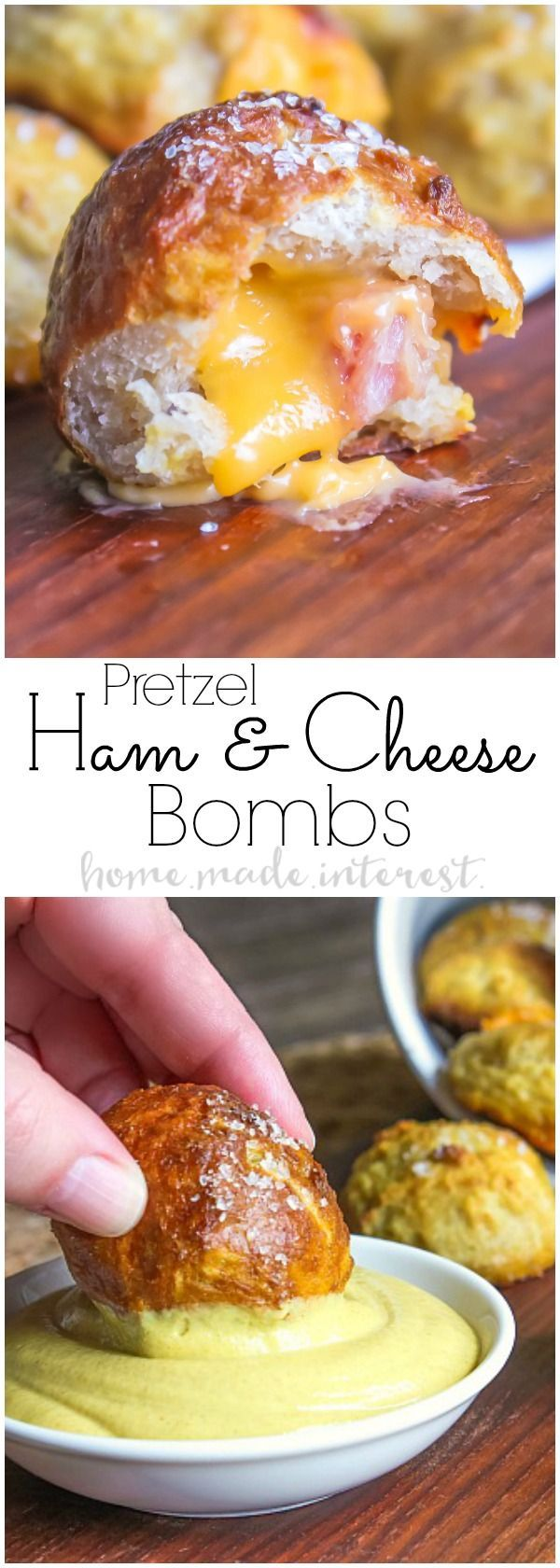 Ham and cheese pretzel bombs are an easy game day appetizer that are exploding with cheesy goodness!