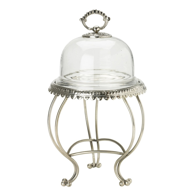 Achica lisbeth dahl silver glass dome cake stand with
