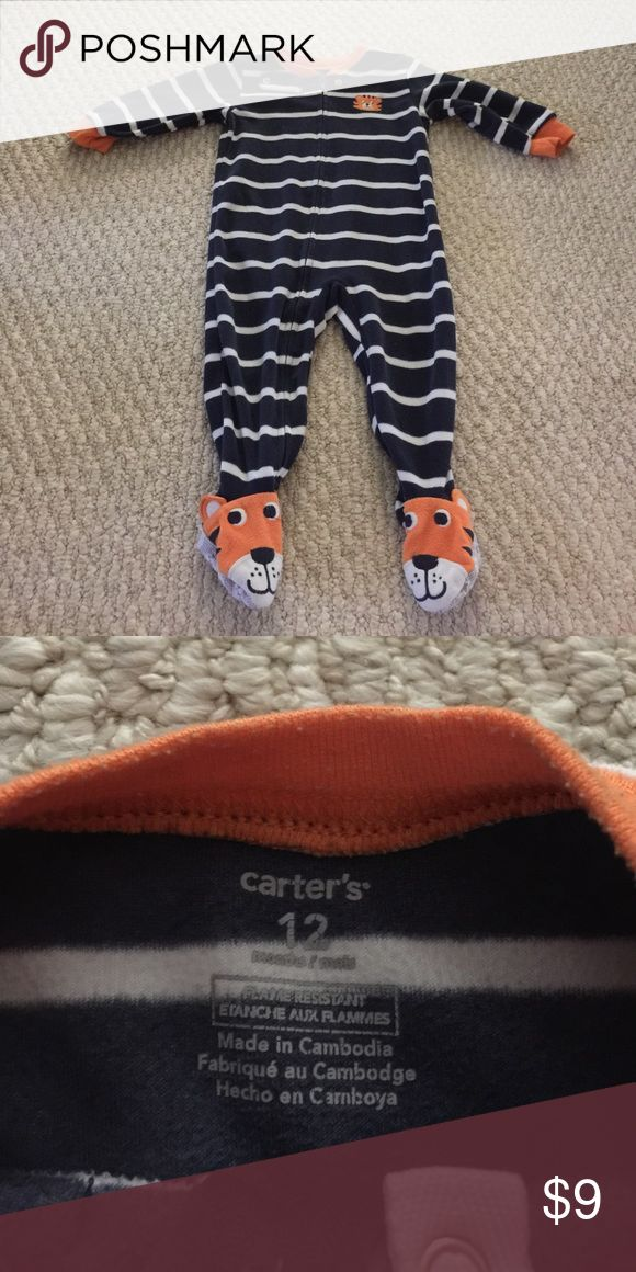Carters! Baby boy striped tiger footie Like newwww!!! Good quality!! Carters! Baby boy navy blue and white striped tiger footie flannel material Carter's One Pieces Footies