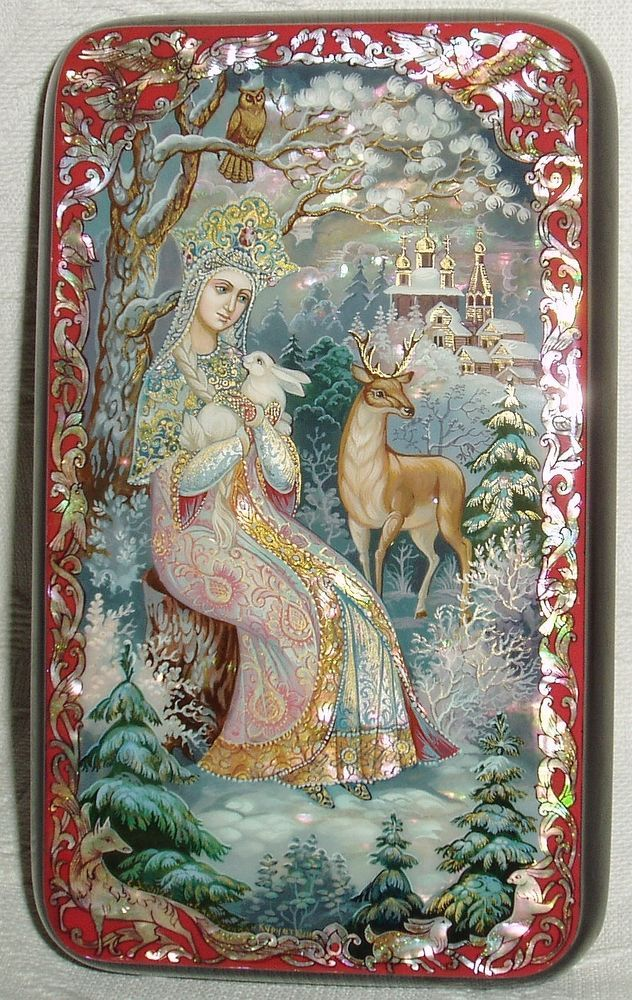 """Russian Lacquer box Kholui """"Snow Maiden & forest animals"""" miniature Hand Painted"""
