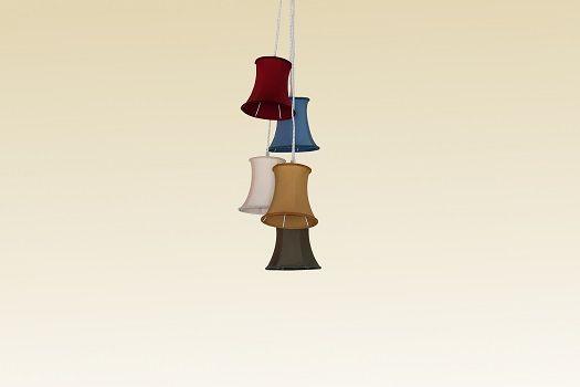 LUIS VINTAGE  Sospensione 5 luci con shade in stoffa e cavi in seta intrecciata bianca  SCHEDA TECNICA Dimensioni: D. 40 cm H.max. 190 cm  Portalampade: 05 x E14 max 40W