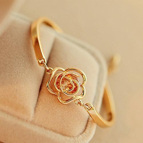 Women's Golden Flower Crystal Rose Bangle Cuff Chain Bracelet Jewelry Present, golden rose, cute original gift for women, girl, wife, girlfriend
