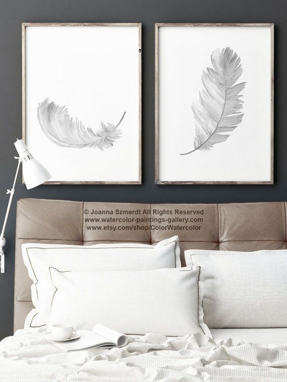 Grey Feather Print Black White Gray Watercolour Painting 2