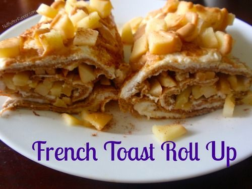 French Toast Roll Up- flat out bread, 4 eggs whites, cinnamon, vanilla, apple