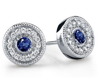 Go Old Hollywood glam with these stunning Milgrain Halo Diamond & Sapphire Earrings in White Gold. Wear with a low chignon hairstyle and a vintage draped dress!  www.brilliance.co... #sapphire #diamonds #earrings #jewelry #accessories #vintage #halo