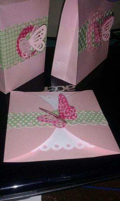 Convite festa borboleta scrap canson perolado