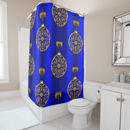 Christmas Baubles on Blue Shower Curtain - elegant gifts gift ideas custom presents