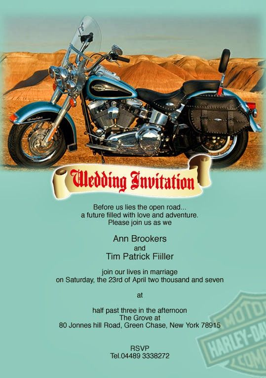 Harley Davidson Wedding Invitation