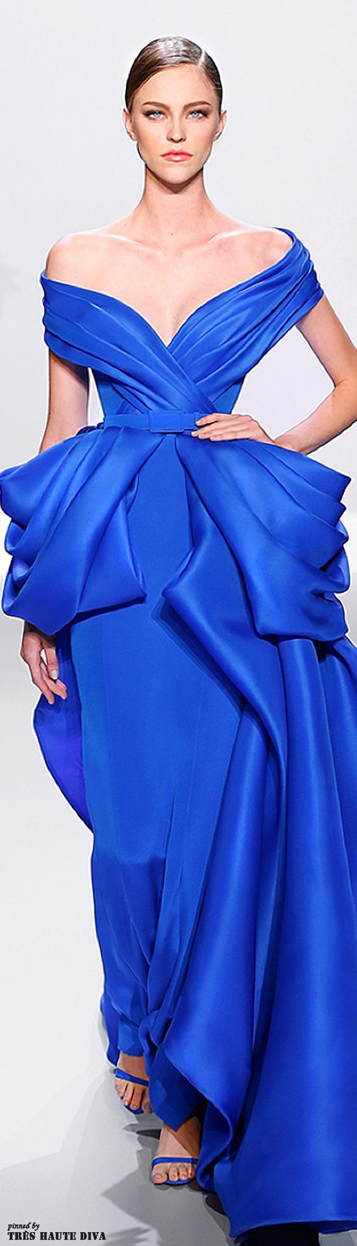 Ralph & Russo ~ Spring Royal Blue Off the Shoulder Evening Gown w Pleated Waist Accent 2014