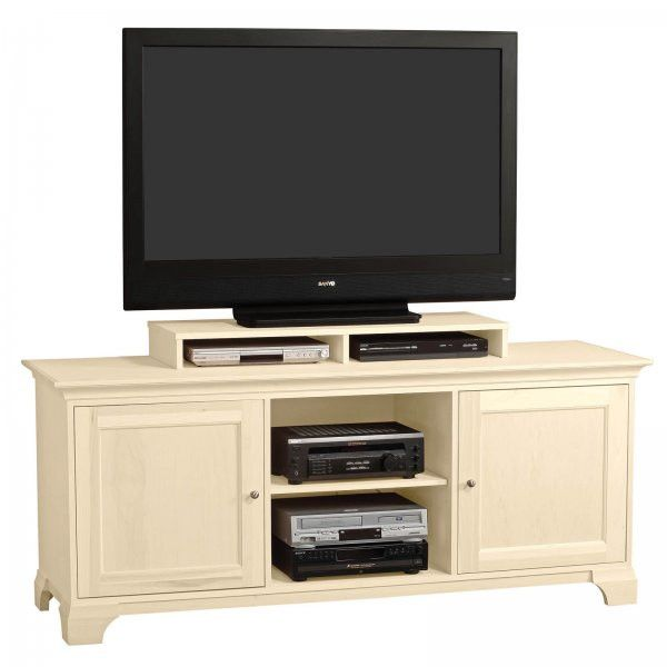 "Michael 70 Inch Wide Flat Screen Solid Panel Door Television Console with Shelf (Ivory) (33""H x 70.25""W x 21.75""D)"