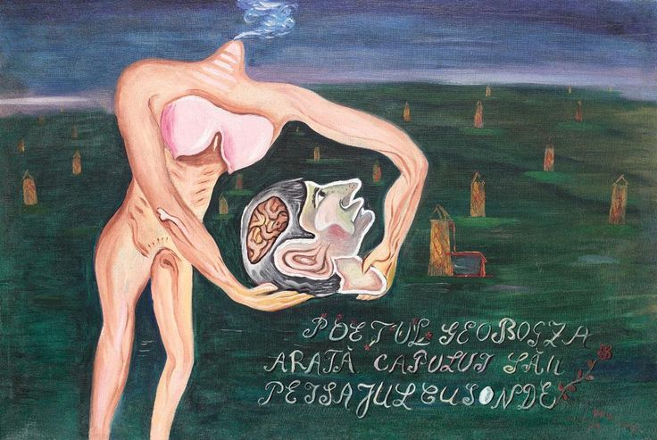 The Poet Geo Bogza Shows His Head to the Landscape with Drills by Victor Brauner