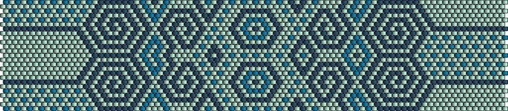 Dans les tons bleu turquoize, modèle manchette peyote