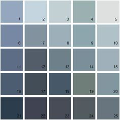 16 Kensington blue. 18 Newburyport blue.  Benjamin Moore Blue House Paint Colors - Palette 18