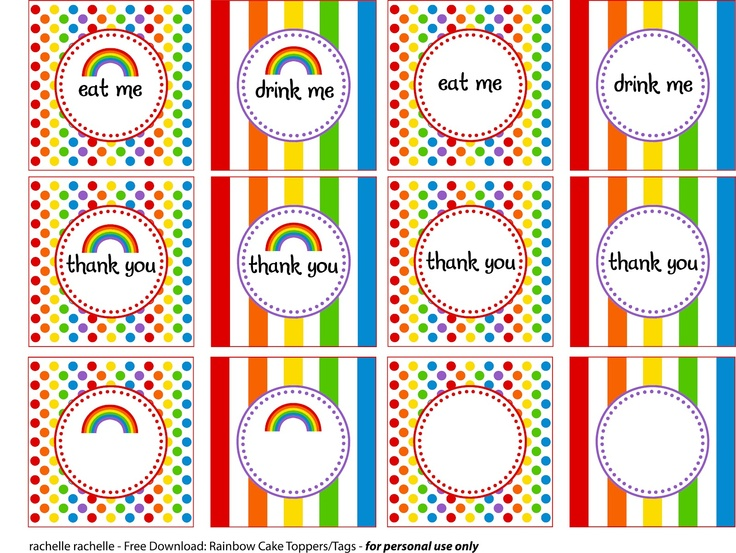 rachelle rachelle: Rainbow Party Printables