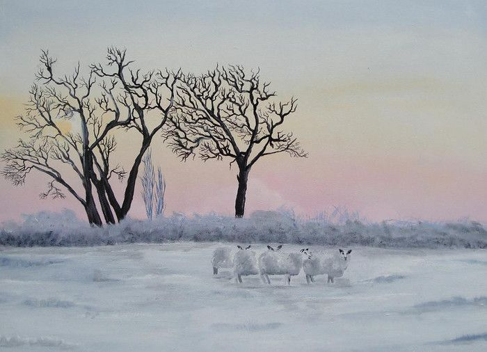 """painting oil on panel """"sheep in winter"""" (for sale) made by Tirza Atsma-Hoornstra"""