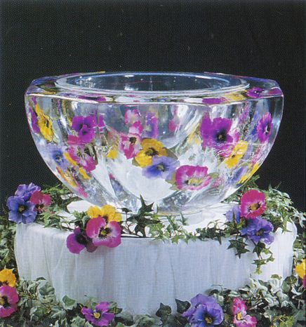 Ice Punch Bowl with Flowers