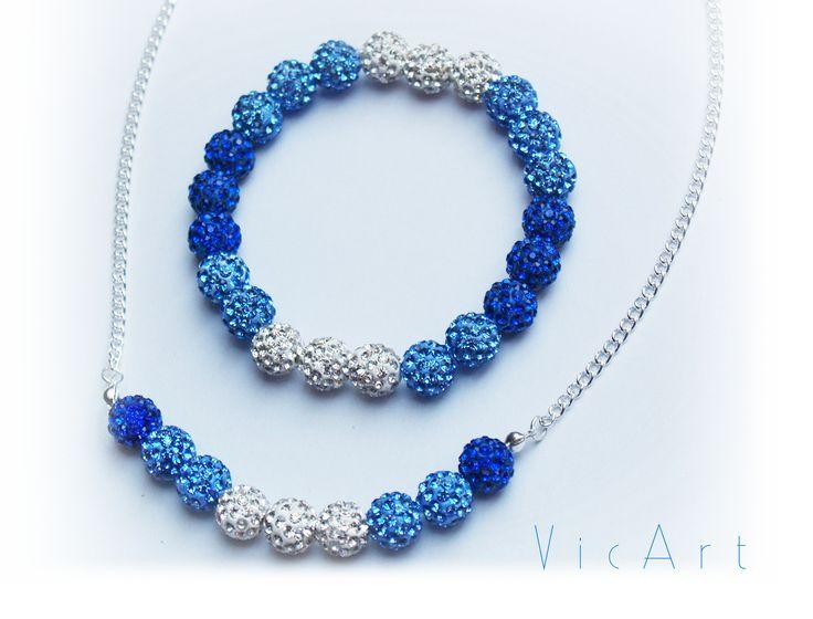 Kék csillogós karkötő és nyaklác Blue glistening bracelet and necklace