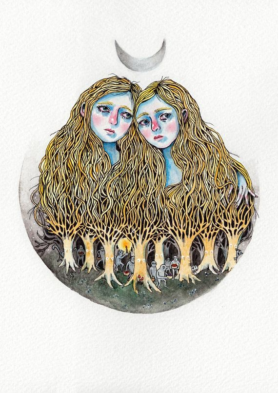 Goblin Market illustration print of watercolour ink drawing by Heidi Burton, showing Laura and Lizzie with long hair tangling down into a forest of goblin men.