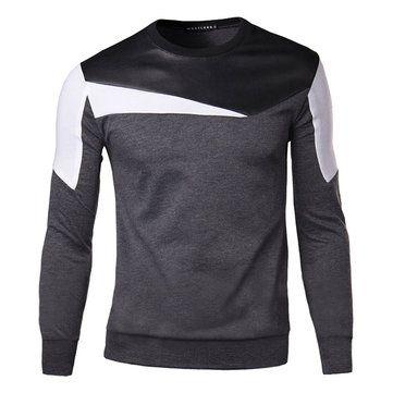 Mens Casual Fashion O-neck Collar Splicing Sweatshirt Slim Fit Pullover Sweatshirt