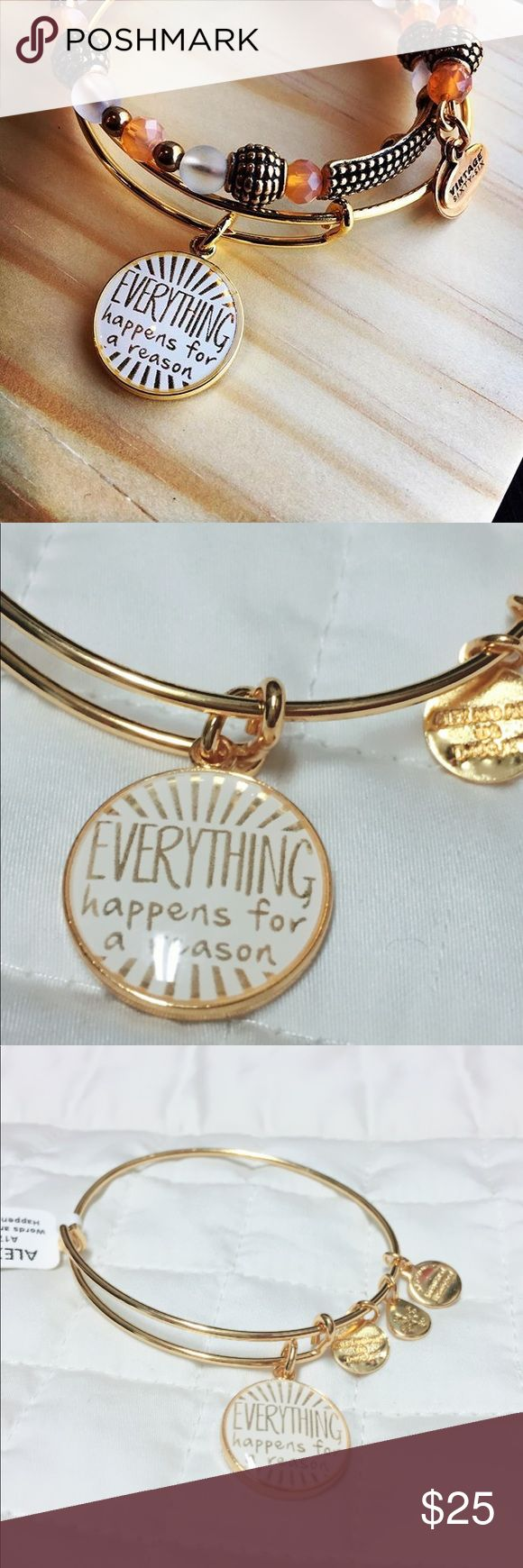 Alex & Ani Everything Happens for a Reason NWT Words hold powerful energy. When you speak something with clarity, presence, and intention, you command the universe to create your will. Use the power of words as a means to relay a positive message to a loved one, yourself, or the universe. It will be heard. Alex and Ani Everything Happens for a Reason Bangle. In shiny gold finish, perfect condition and NWT. Tag marked to prevent returns. Selling for a friend so not much wiggle room on the…