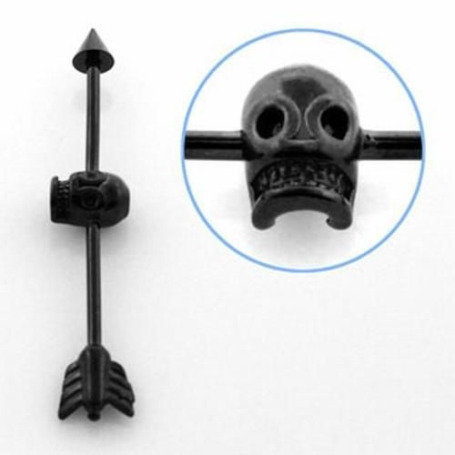 Style Sanctuary  - Black Anodized Industrial Scaffold Barbell with Skull, £4.99…