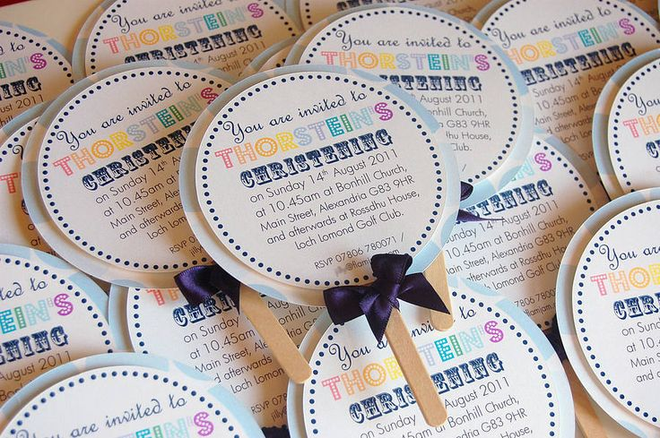 Lollipop Christening Invitation from notonthehighstreet.com