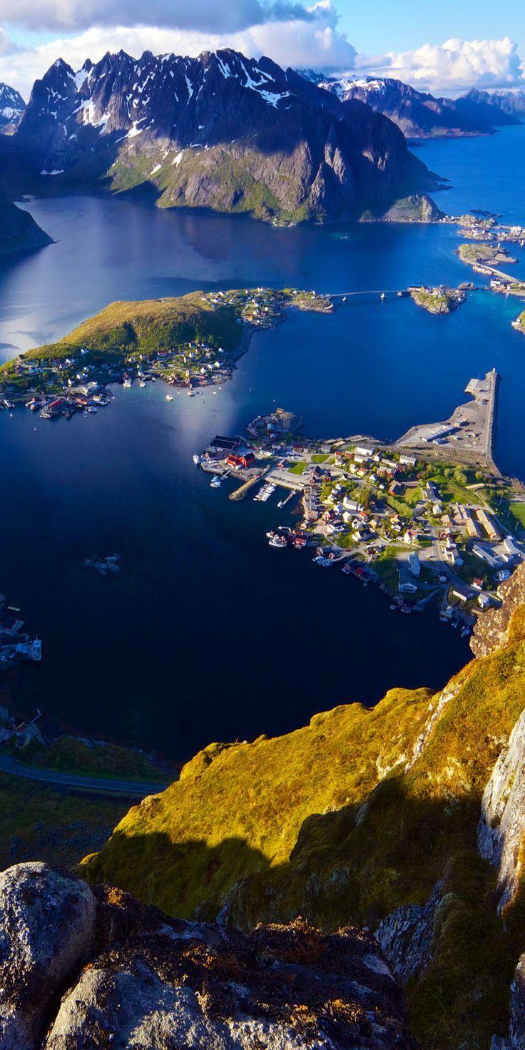 Scenic View of Lofoten Islands from Top of Mountain Reinebringen