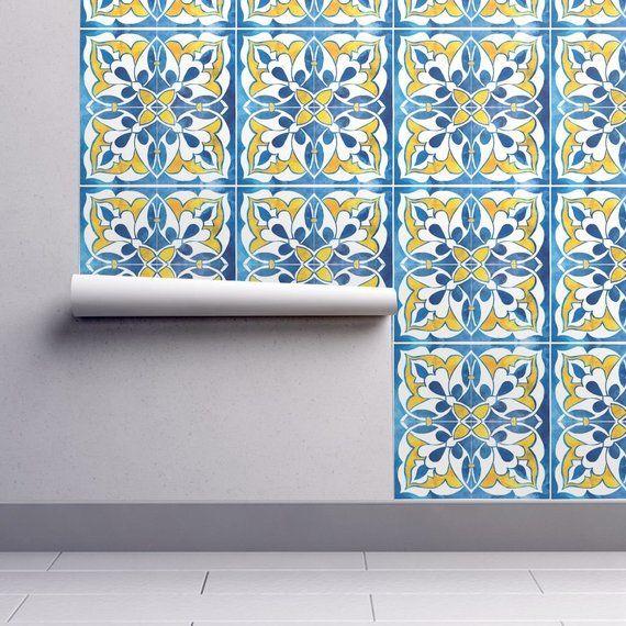 Spanish Wallpaper Spanishtile By Gaiamarfurt Blue Yellow Etsy Self Adhesive Wallpaper Peel And Stick Wallpaper Wallpaper Roll