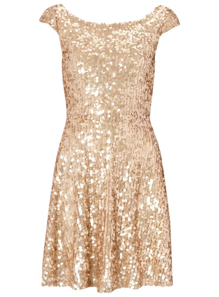 Rose Gold Sequin Skater Dress £32.99 #pinternacionale